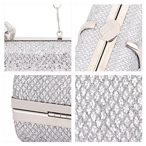Naimo Silver Bling Bag Handbag Evening Hardcase Clutch Cocktail n4nZfxA