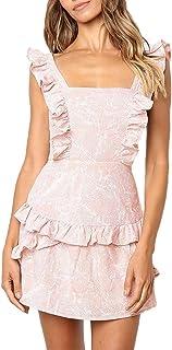 Xiaojmake Women's Square Collar Sleeveless Cutout Strap Ruffle Dress