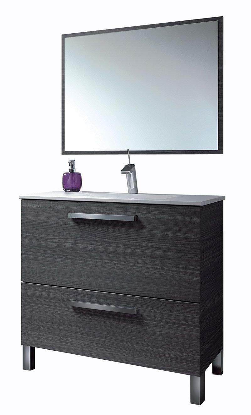 HABITMOBEL Mueble Baño con Espejo, Lavabo Cerámica
