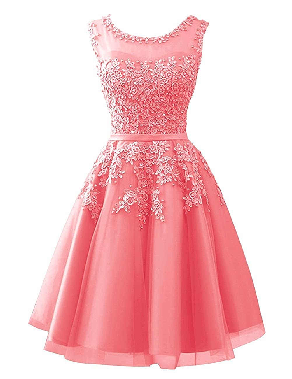 Coral Cdress Tulle Short Junior Homecoming Dresses Prom Evening Dress Party Formal Gowns Lace Appliques