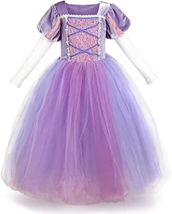 OBEEII Girls' Princess Sofia Rapunzel Dress up Costume Cosplay Fancy Party Tutu Dress Halloween Christmas for 2-8 Years