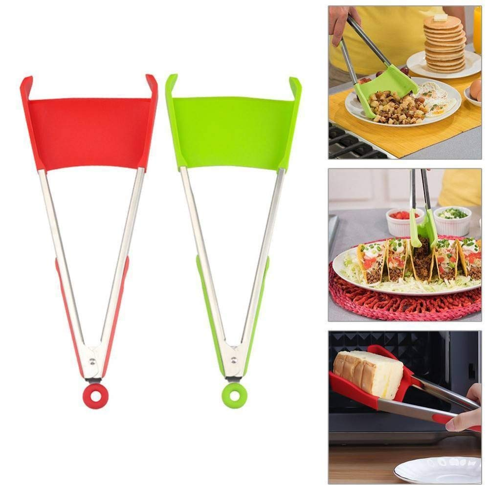 2-in-1 Kitchen Tools Food Clip Spatula Tongs Heat Resistant Non-Stick Kitchen Helper Silica Gel Kitchen Tongs