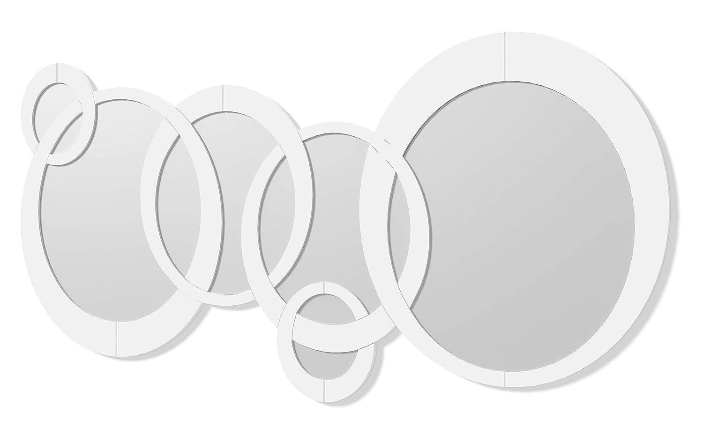 DEKOARTE Specchio Moderno da Parete Decorativo costituito da Forme circolari Bianco, 140x70 cm