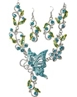 Promithi Elegant Womens Retro Butterflies Necklace Earring Sets (A-blue)