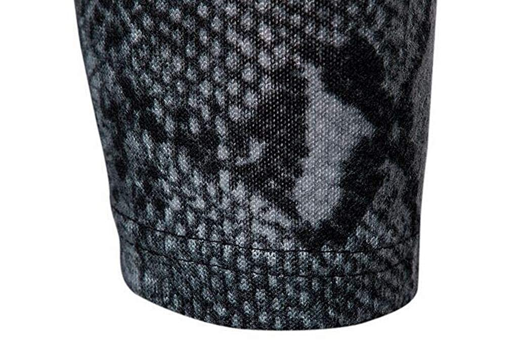 ARTFFEL Men Casual Turtleneck Fleece Long Sleeve Printed Thermal T-Shirt Basic Top