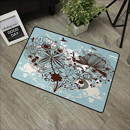 - Bathroom mat W16 x L24 INCH Grunge,Murky Floral Dragonfly Background with Swirls and Petal Retro Graphic,Light Blue Chestnut Brown Natural dye printing to protect your baby's skin Non-slip Door Mat Ca
