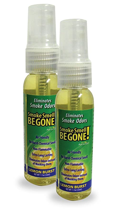 Smoke Smell Be-Gone! Smoke & Odors Eliminator for Home, Office & Car   Natural Non-Aerosol Air Freshener 1 1oz (33ml), Lemon Scent (Pack of 2)