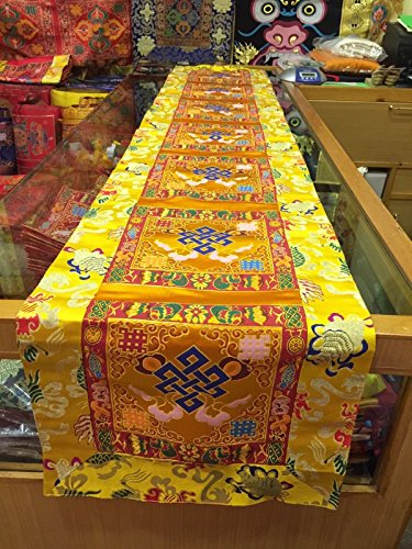 Tibetan Yellow Endless Knot silk brocade Shrine/table/cover/cloth/runner/200 Cm ()