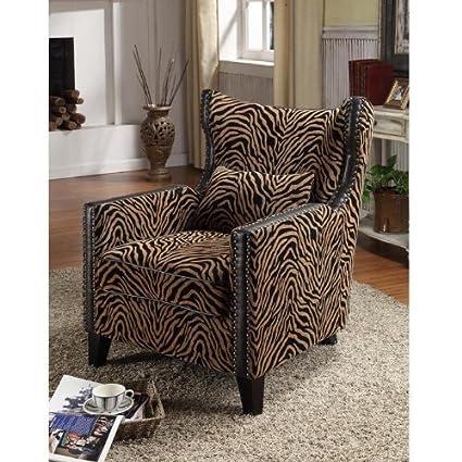 Attrayant Armen Living Nailhead Accent Chair, Tiger Chenille