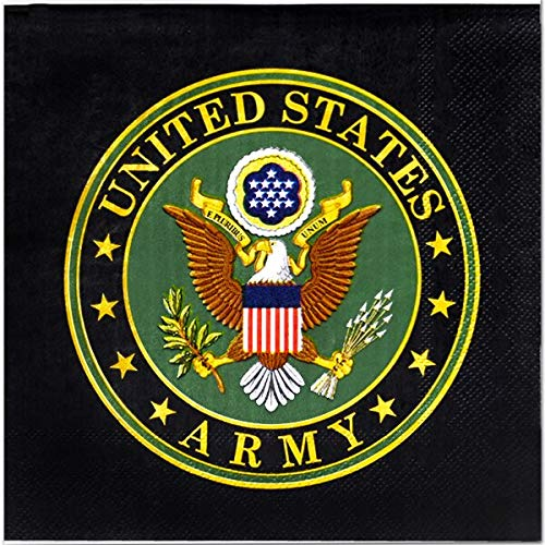 US Army 6.5'' Lunch Napkins - 48 count - Army, Military, American Hero Paper Party Napkins for Birthday, Camping, Homecoming by Birthday Direct