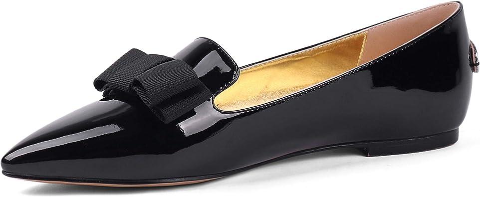 SOPHITINA Women's Pointed Toe Bow Black