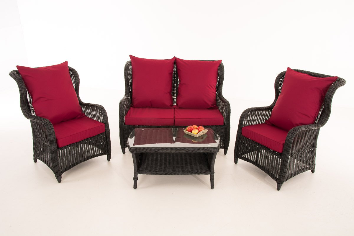 Gartenlounge rattan rund  CLP Poly-Rattan Garten Lounge Set TOLEDO, 5 mm RUND-Geflecht, ALU ...
