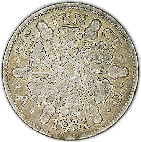 1931 UK George V British Silver Oak Reverse Sixpence Good