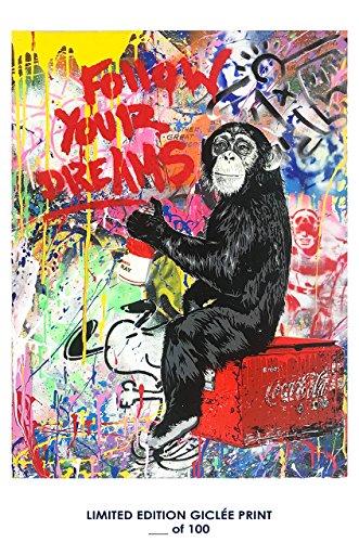 RARE POSTER graffiti MR. BRAINWASH follow your dreams 2017 REPRINT giclee #'d/100!! - Mr Brainwash Art