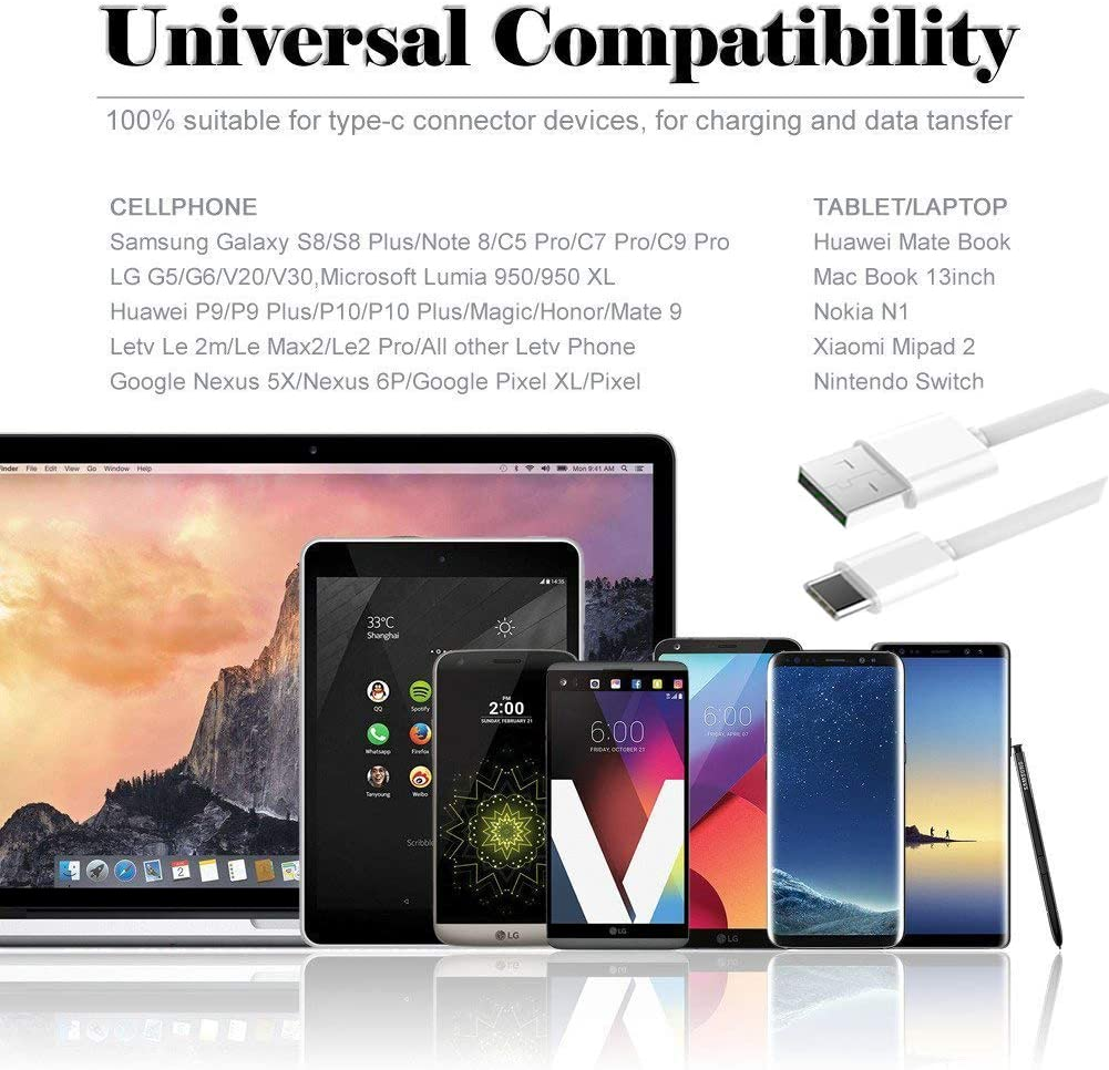 Adaptive Fast Charger Kit,LaoFas Quick Charge USB Wall Charger for Samsung Galaxy S10//S9//S8//S8 Plus//Note8//9{2 Type-C Cables 2 Wall Chargers}Charge up to 50/% Faster Black