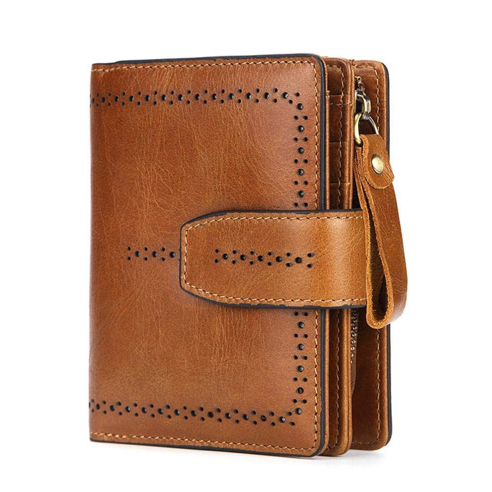 LanDream Lady Wallet Women's Wallet,Lady's Wallet Leather Mini Zipper Bag Kraft Card Bag