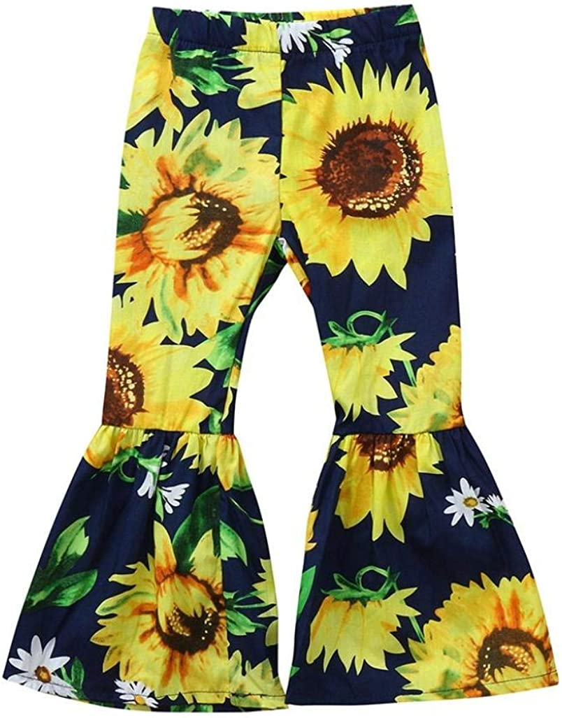 Toddler Kids Baby Girls Sun Flower Print Long Leg Flared Pants Bell-Bottoms Trousers Casual Outfits