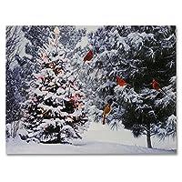 DISEÑOS DE BANBERRY Árbol de Navidad y pájaros de Cardenal Impresión de lienzo LED - Bosque nevado de invierno Escena de árboles de pino - Imagen iluminada - Arte de la pared con luces led a batería
