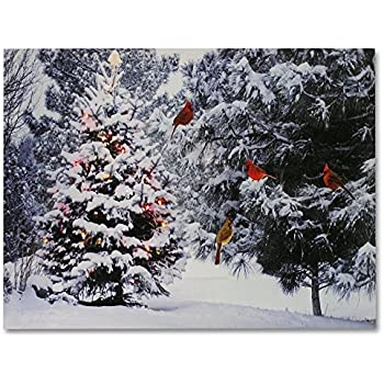 BANBERRY DESIGNS Christmas Tree & Cardinal Birds LED Canvas Print - Snowy Winter Forest Pine Trees Scene - Lighted Picture - Wall Art with Battery Operated Led Lights