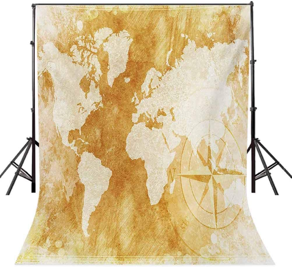 Compass 10x15 FT Photo Backdrops,Old-Fashioned World Map Design with Compass in Retro Distressed Colors Continents Background for Baby Birthday Party Wedding Vinyl Studio Props Photography Cream Tan