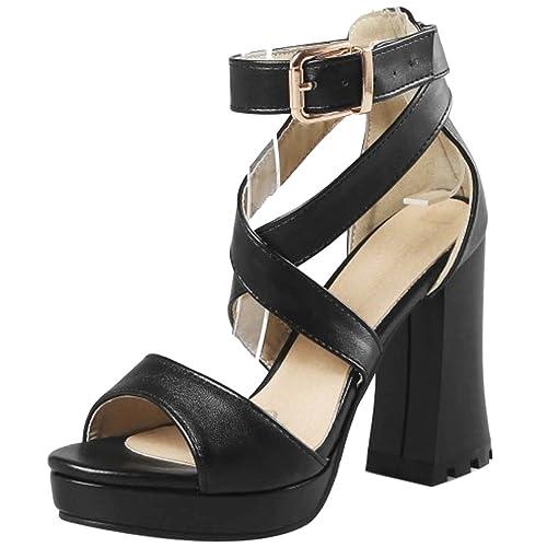 d01f91e88 RAZAMAZA Mujer Moda Block Tacón Alto Sandalias  Amazon.es  Zapatos y  complementos