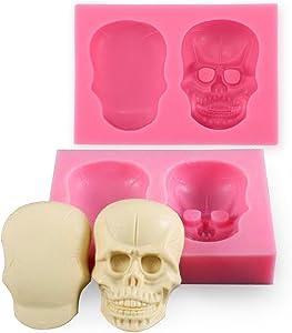 Joinor 3D Skull Silicone Mould Fondant Sugar Clay Jewellery Fimo Button Cake Mold