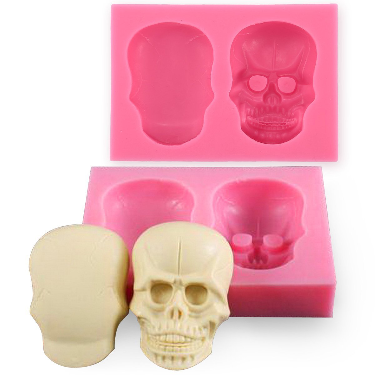Joinor 3D Skull Silicone Mould Fondant Sugar Clay Jewellery Fimo Button Cake Mold