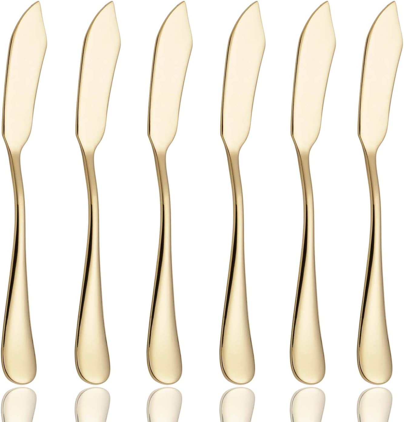 6 Piece Butter Knife 6-inch Stainless Steel Cheese Spreader Knives Set Table Silverware Dishwasher Safe, Packs of 6 (Gold)