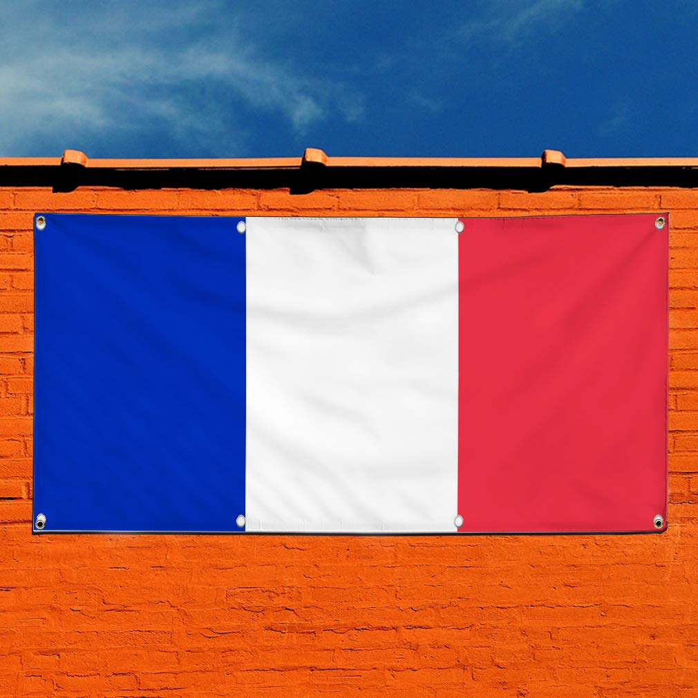Multiple Sizes Available 32inx80in Set of 2 Vinyl Banner Sign France Flag Blue White Red Countries Marketing Advertising Blue 6 Grommets