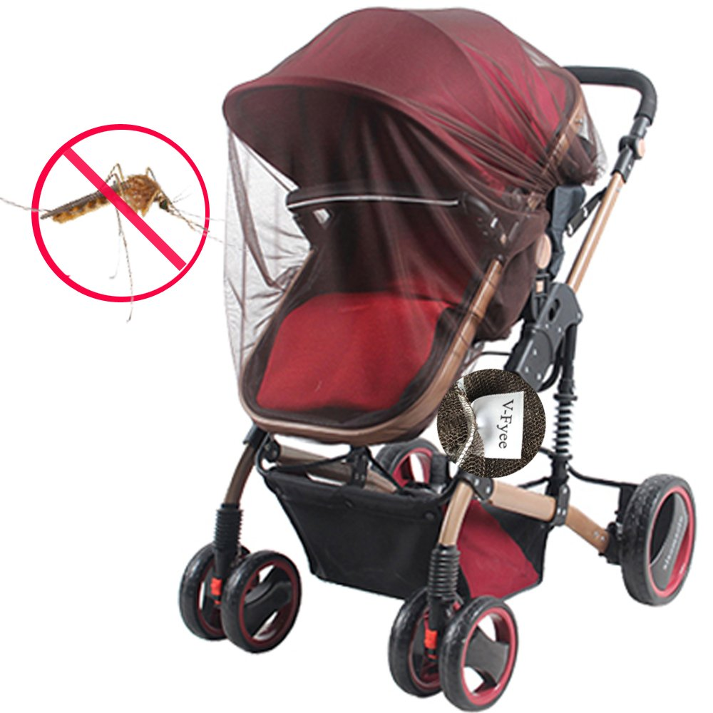 Mosquito net for Stroller, V-FYee Insect Bug Netting for Baby Car Seat, Infant Carriers, Cradles (Brown)