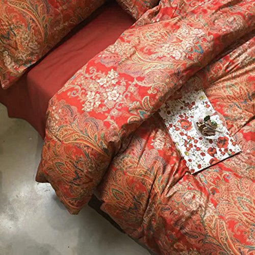 Boho Paisley Print Luxury Duvet Quilt Cover and Shams 3pc Bedding Set Bohemian Damask Medallion 350TC Egyptian Cotton Sateen (King, Gold Red) (Pottery Barn Red)