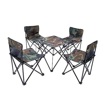 COKECO Conjunto De Mesa Y Sillas De Camping Plegable Al Aire ...