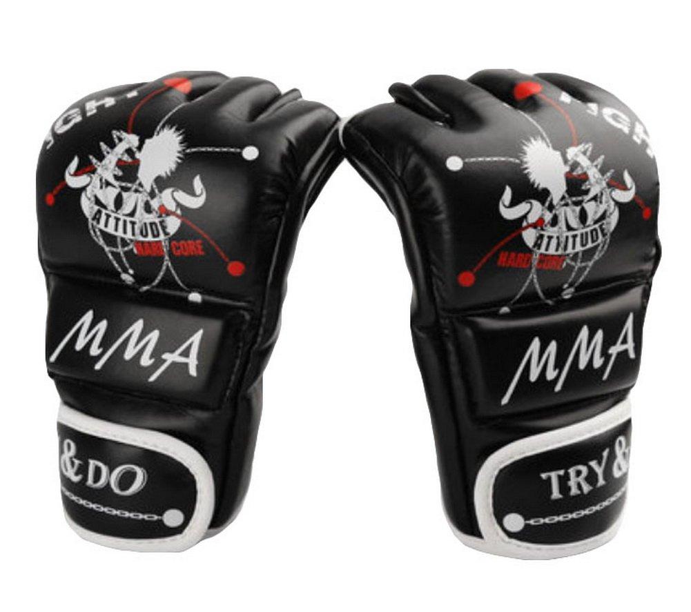 Boxing – キックボクシンググローブ半指手袋 – MMA ----ブラック B00WUBRB5Y