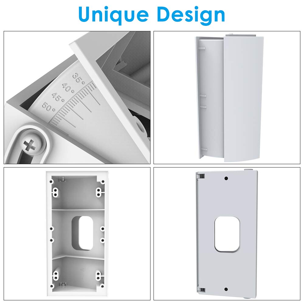 Angle Mount Compatible with Ring Wi-Fi Enable Doorbell//Ring Video Doorbell 2 Black CAVN Adjustable 30 to 55 Degree Replacement Angle Adjustment Adapter Mounting Plate Bracket Wedge Corner Kit