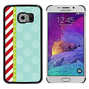 LECELL--Funda protectora / Cubierta / Piel For Samsung Galaxy S6 EDGE SM-G925 -- Candy Red White Stripes Pattern Retro --