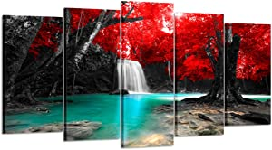 Kreative Arts Large 5 Panel Canvas Wall Art Prints Waterfall Nature Scenery Painting Modern Artwork Wooden Framed Landscape Pictures Ready to Hang for Living Room Home Decor (Large Size 60x32inch)