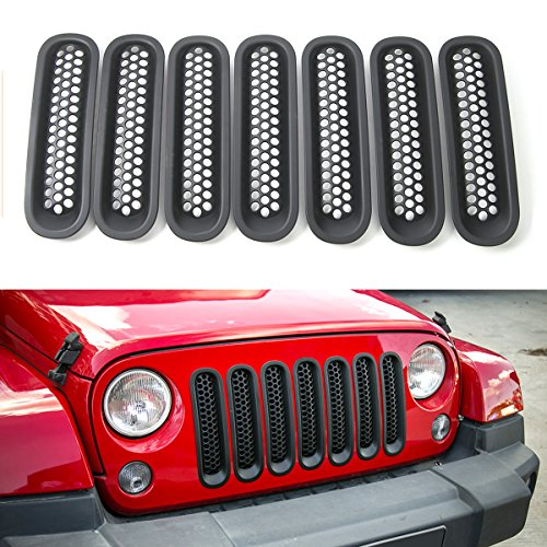 RT-TCZ Upgrade Version Clip-on Grille Front Mesh Grille Inserts For Jeep Wrangler 2007-2015 (Matte (Mesh Grille Grill Insert)