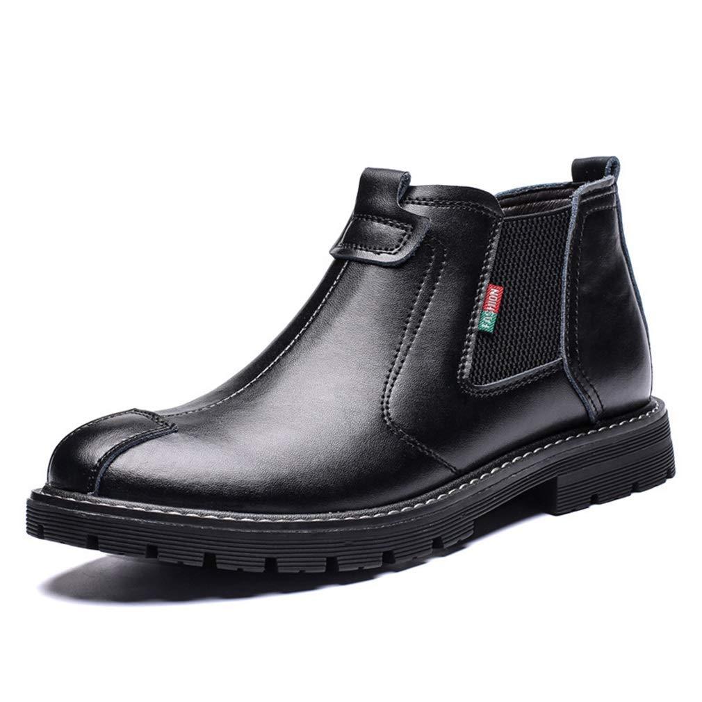 Herrenstiefel, Herbst Winter Hohe Martin Stiefel Rundkopf Retro Academy Plus Samt Mode Stiefel (Farbe   schwarz Single schuhe, Größe   44)