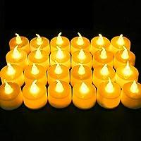 Vela LED, 24 PC Luces de Té sin Llama Velas, Luz de Té con Baterías, Llama LED Parpadeante, Led de Té Eléctricas…