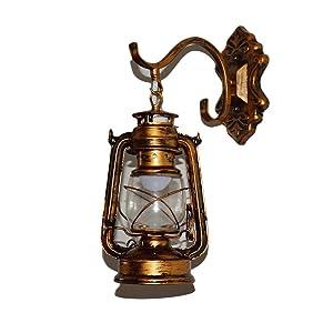 Lèche-murs Vintage Applique Lampe Lanterne Murale Eclairage Mural En Metal Verre E27 Retro Européen Style Lanterne Lampe Murale Antique Lanterne Applique Traditionnel Lampe Extérieure Lanterne Murale