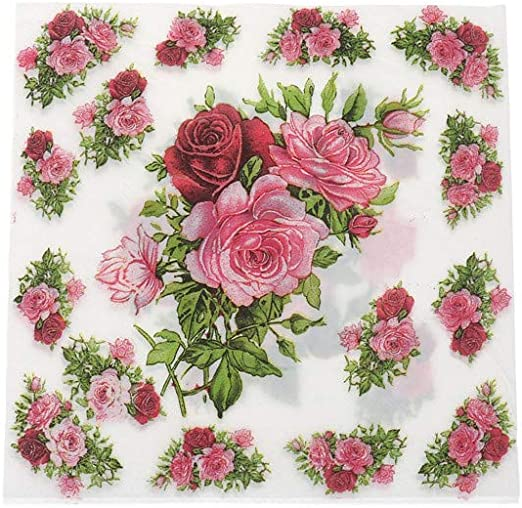 7thLake 20pcs 16.5cm Printed Flower Rose Table Napkins Paper Decoupage  Vintage Pink Wedding Birthday Party And Anniversary Decoration
