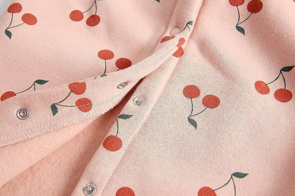 AIKSSOO Baby Girls Outfit Ruffle Trim Hood Romper Active Hoodies Cherry Jumpsuit
