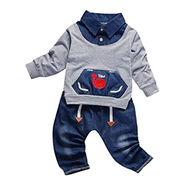 b4902c53c Yannerr 2pcs Bebé niño Dibujos Caracol camiseta tops+pantalones Vaquero  conjunto