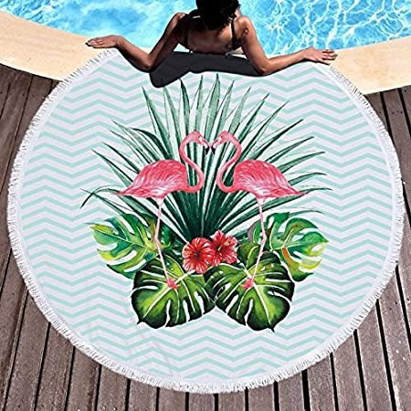 Amazon.com : GSYAZTT Big Boho Flamingo Pineapple Flower Circle Bath Towel With Brush Microfiber Picnic Blanket 150 Yoga Matte Tablecloth Color1 : Sports & ...