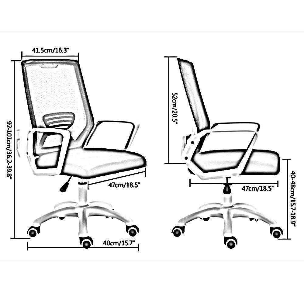 JIEER-C stol datorstol verkställande stol ergonomi höjd justerbar roterande lyft hushåll svängbar stol för kontor sovrum Nominell lastkapacitet: 136 kg, grå BLÅ
