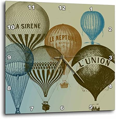3dRose Vintage French Hot Air Balloons – Wall Clock, 13 by 13-Inch DPP_178940_2