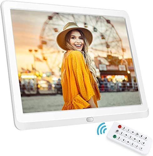 10 Inch Digital Photo Frame, NAPATEK Digital Picture Frame 1920×1080 IPS Display Electronic Picture Frame 1080P HD Video Playback Calendar Alarm Remote Control Support 128G SD -White