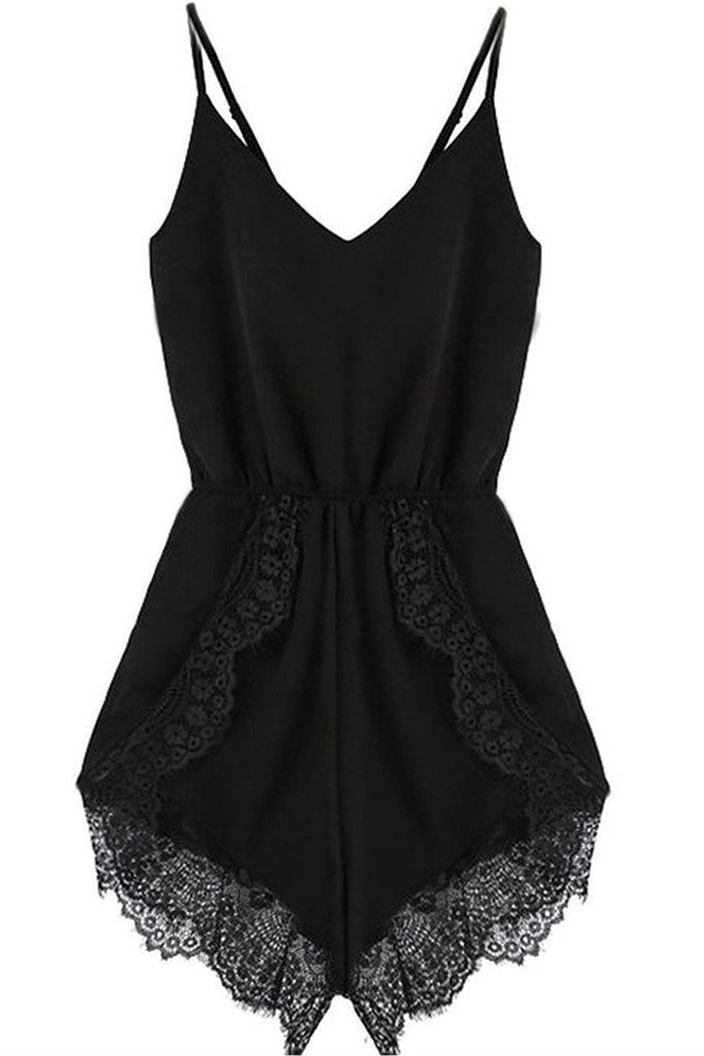 FACE N FACE Women's Lace Chiffon Sleeveless Jumpsuit Rompers Large Black by FACE N FACE (Image #2)