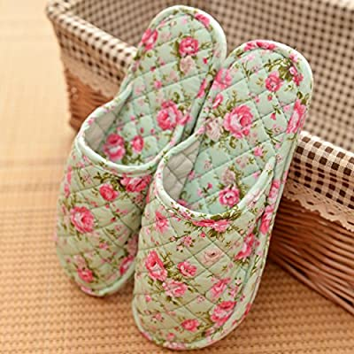 YMFIE Chaussons en coton d'hiver dames sur la protection de l'intérieur chaleureux accueil marbre tissu fond mou chaussures chaussons amoureux