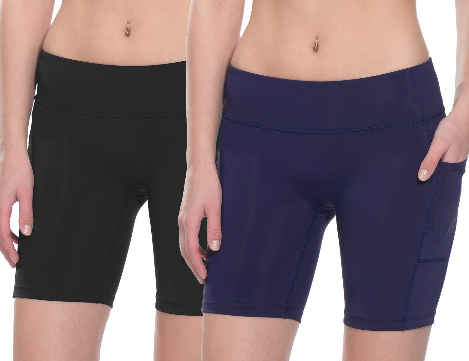 Baleaf Women's 7 Inches Workout Running Shorts Yoga Comprssion Shorts Side Pockets 2 Packs Black/Navy Blue Size XL by Baleaf